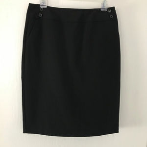 Black Pencil Skirt with Pleated Back
